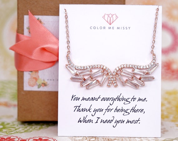 Angel Wing Necklace - Rose Gold FILLED Cubic Zirconia weddings brides bridesmaid bridal shower Christmas gifts her crystal personalised N226