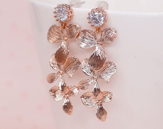 Rose Gold Cubic Zirconia Earring with Orchid Flower Dangle - gifts for her, pearl earrings, bridal gifts, dangle, pink gold weddings E294