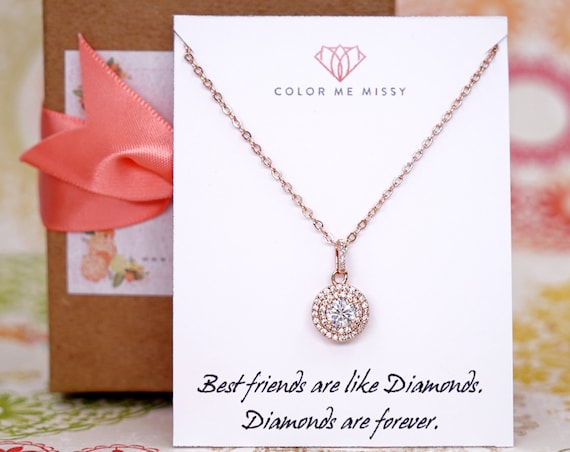 Rose Gold FILLED chain with Luxe Cubic Zirconia Round Drop necklace, Halo style crystal necklace, Wedding Bridal bridesmaid necklace N231