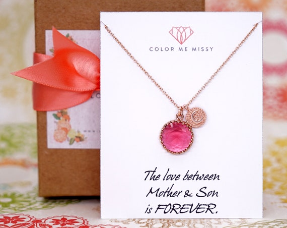 Rose Gold Ruby Pendant FILLED Necklace - personalised letter initial gifts for her, round, Wedding Bridesmaid bridal shower gifts weddings