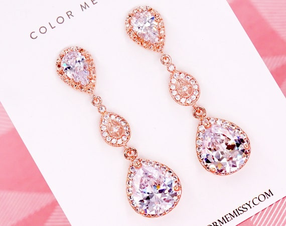 Rose Gold Luxe Cubic Zirconia Teardrop Earring - earrings, bridal gifts, drop, dangle, rose gold wedding, blush, bridesmaid earrings