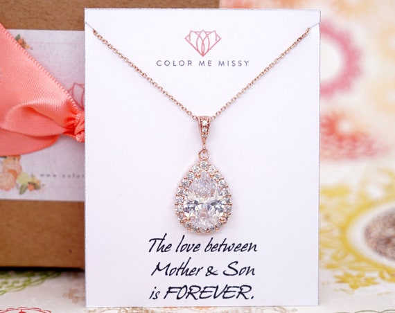 Rose Gold FILLED Cubic Zirconia Teardrop Necklace - weddings brides bridesmaid bridal shower Christmas gifts her crystal personalised N258