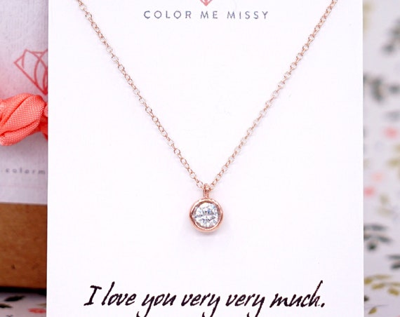 Simple Diamond Drop necklace - rose gold filled necklace, cubic zirconia pendant , crystal, chic, pretty, pink gold personalised christmas