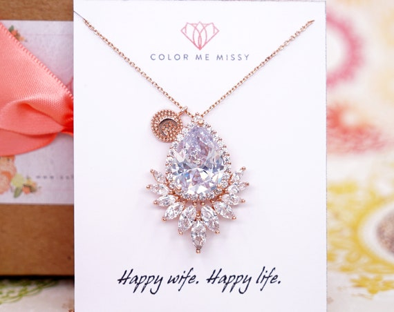 Personalised Initial Letter Rose Gold FILLED Cubic Zirconia Teardrop Necklace - weddings brides bridesmaid Christmas gifts her crystal  N260