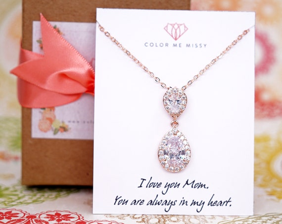 Rose Gold FILLED Cubic Zirconia Teardrop Necklace - weddings brides bridesmaid bridal shower Christmas gifts mother mum personalised N225