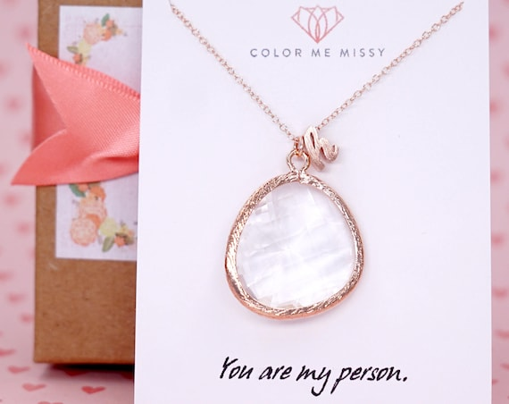 Rose Gold Big Round Glass drop Jewelry Set - Necklace, gifts for her, earrings, bridal gifts, pink gold weddings, bridesmaid jewelry N235