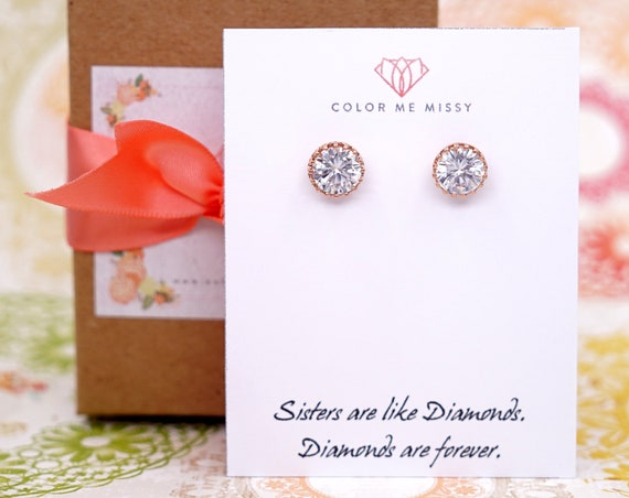 Rose Gold Cubic Zirconia Ear studs Earrings, Bridal wedding bridesmaid jewelry personalised gifts for her E315