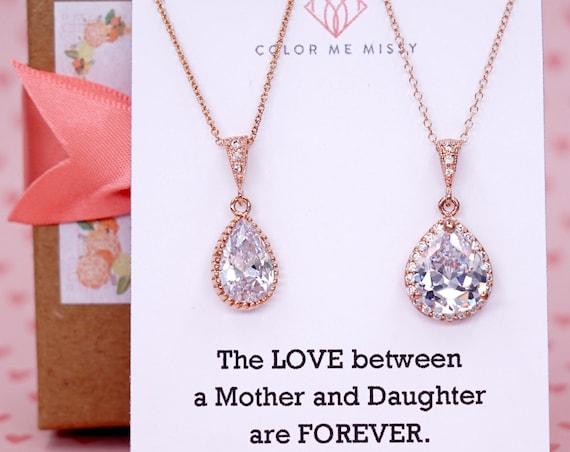 Rose Gold Luxe Cubic Zirconia Teardrop Necklace - weddings brides bridesmaid bridal shower gifts, mother of groom bride - N42 N62