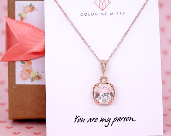 Swarovski Rose Gold Clear Crystal Bridal Necklace, Cushion Cut Square 10mm Wedding Bridesmaids Gifts E250 N185