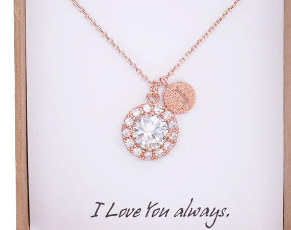 Personalised Letter Rose Gold FILLED Chain Luxe Halo Cubic Zirconia Round drop Necklace - weddings bridesmaid bridal shower gifts, Lelanie