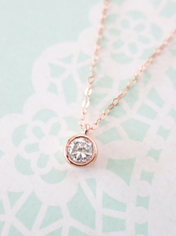 Simple Diamond Drop necklace - rose gold filled necklace, cubic zirconia pendant , crystal, chic, pretty, pink gold