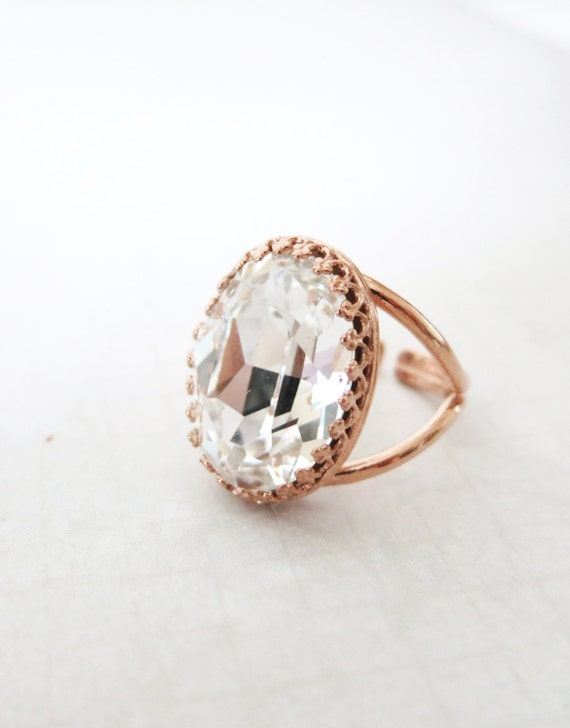 Rose Gold Swarovski Crystal Cocktail Ring - Crystal Clear Oval Crystal Rose Gold Adjustable Ring, simple, sparkly, chic