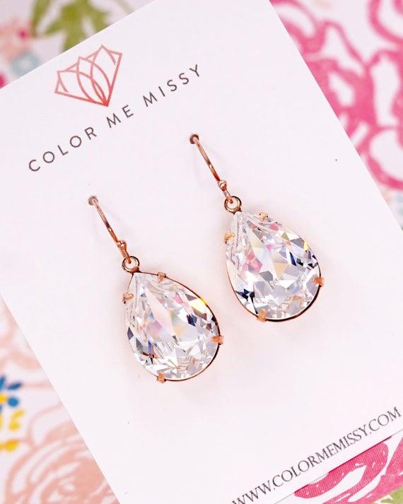 Rose Gold FILLED Swarovski Crystal Teardrop Earrings, wedding bridal earrings, bridal bridesmaid gifts, pink gold weddings, Philomena