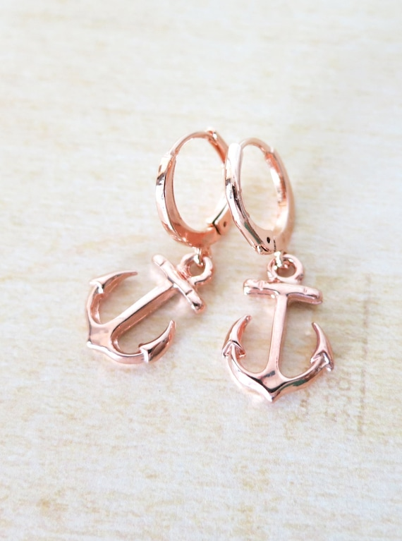 Lucky Rose Gold Anchor Earrings - simple rose gold arrings with Anchor and Mint Beads, best friends, sisters, mum