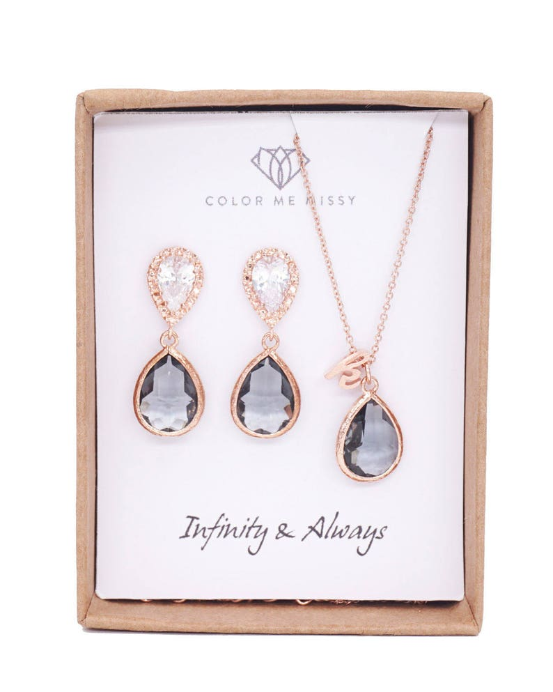 Wedding Bridesmaid bridal shower gifts weddings Rose Gold Black Diamond Teardrop Rose Gold FILLED Personalised letter Necklace Earrings
