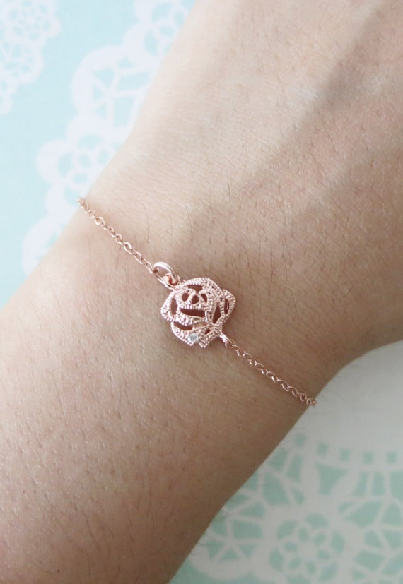 Petite Rose Flower Bracelet - Rose Gold Flower, Rose Gold Filled Chain, dainty, Flower girl, gifts for her, best friend, friendship bracelet