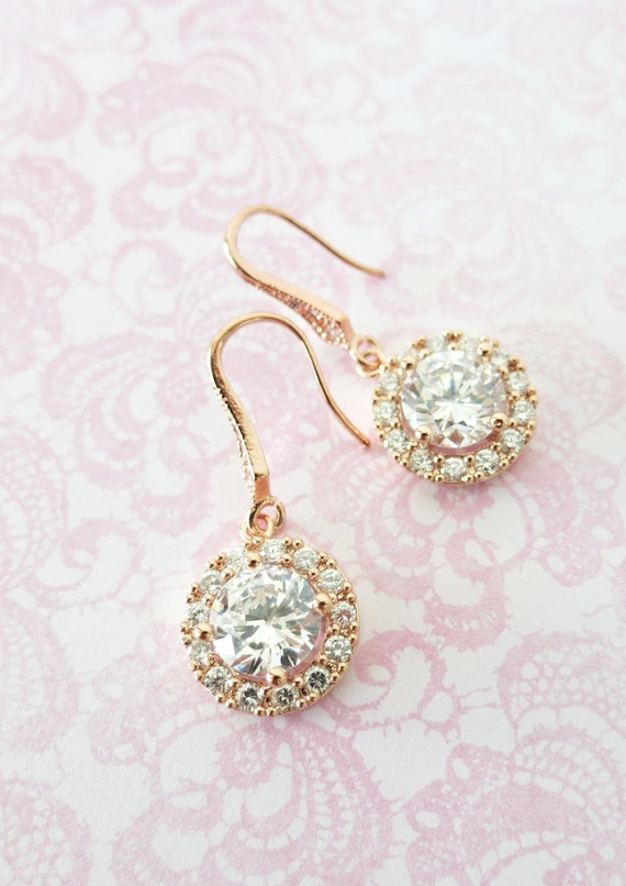 Luxe Rose Gold Cubic Zirconia Halo style Round dangle Earrings, Bridal Bridesmaid Brides earrings wedding jewelry gifts for her blush pink