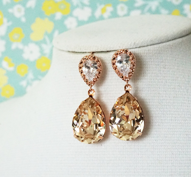 90b64fea9 Rose Gold Bridal Light Silk Swarovski Crystal Teardrop Earring - bridal  gifts, drop dangle, pink gold weddings, bridesmaid earrings, Sandra
