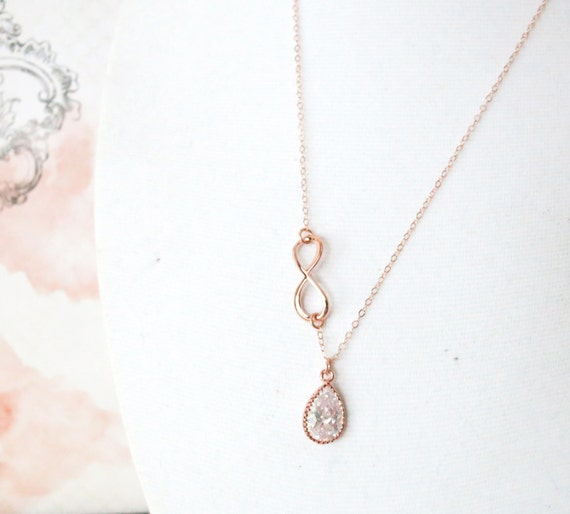 Rose Gold Cubic Zirconia Teardrop and Infinity Lariat, Y Necklace, sister, best friends, mom, bridesmaid necklace, rose gold weddings
