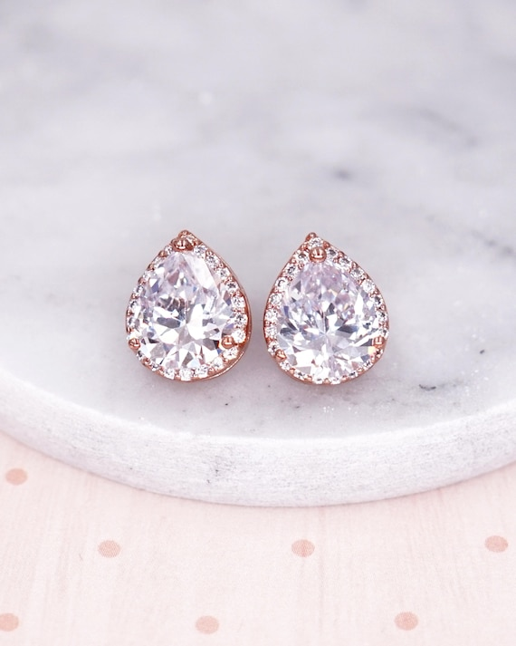 Rose gold,Bridesmaids Earrings,Personalized Bridesmaids Gift,Crystal Stud Earrings,Bridesmaids Gifts,Spring Wedding ,be my bridesmaid card