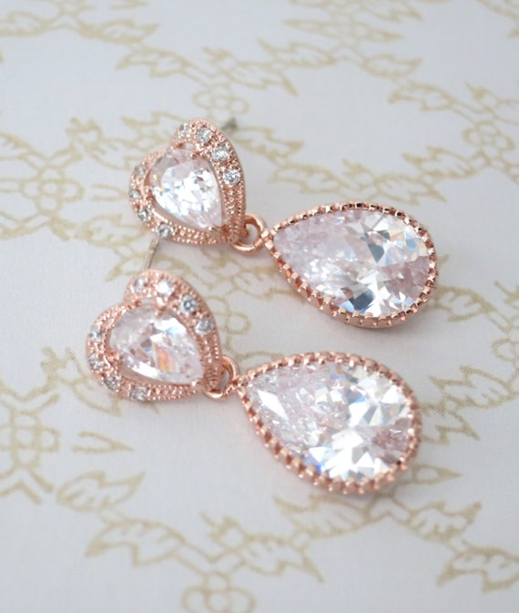 Rose Gold Cubic Zirconia Teardrop Earring - gifts for her, earrings, bridal gifts, drop, dangle, pink gold weddings, heart earrings, love