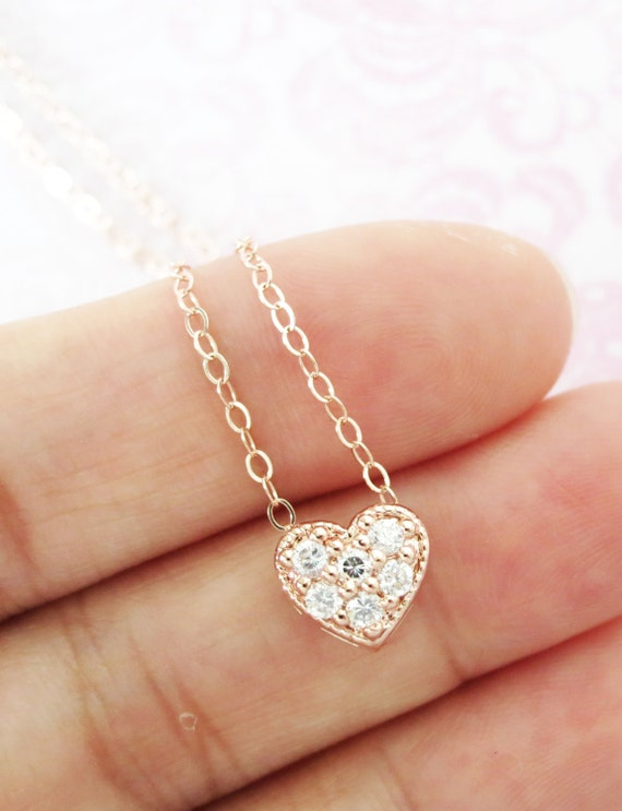 Petite Love Necklace - Rose Gold Heart, Rose Gold Filled Chain, chic, dainty, simple, cubic zirconia heart pendant, bridesmaid necklace