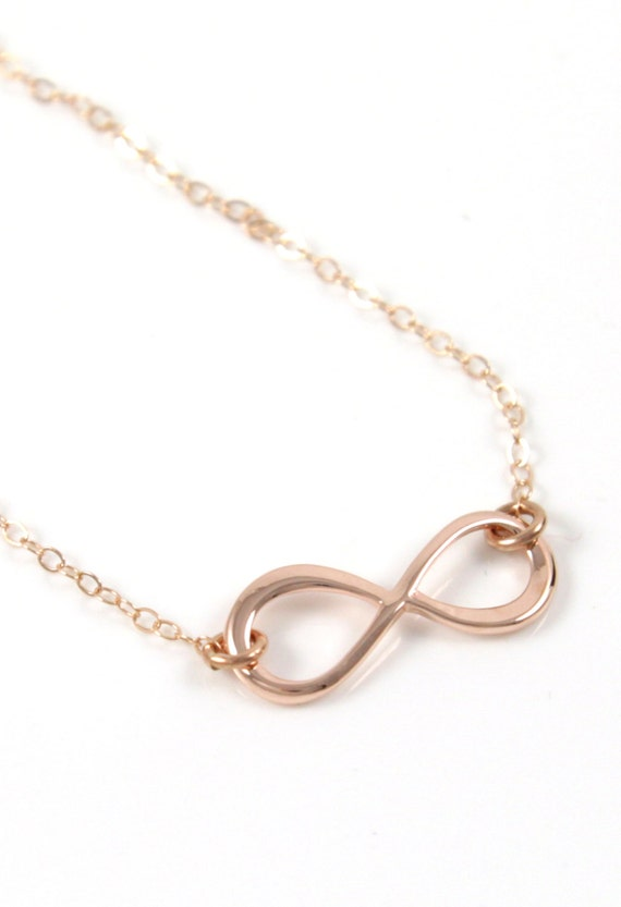Infinity Necklace - 14K Rose Gold Filled Chain, simple rose gold necklace infinity charm, forever love, best friend, sister, bridesmaid