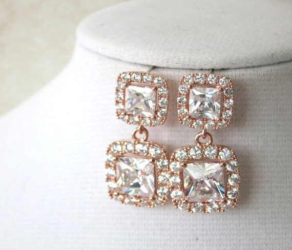 Deluxe Rose Gold Cubic Zirconia Halo style Square Teardrop dangle Earrings, Bridal Bridesmaid wedding earrings, Jewelry gifts for her