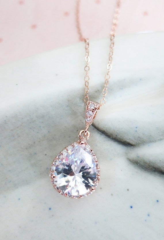 Rose Gold FILLED Chain Luxe Cubic Zirconia Teardrop Necklace - rose gold weddings brides bridesmaid bridal shower gifts crystal personalised