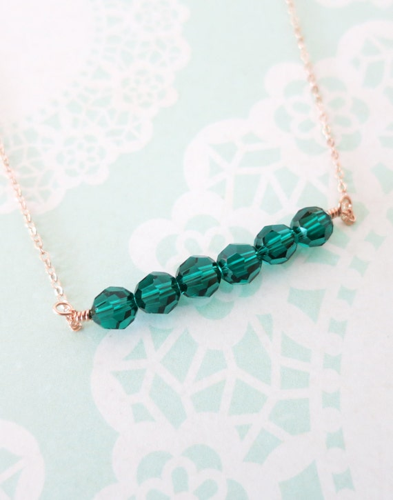 Rose Gold FILLED Simple Emerald Bead necklace - strand of Green Swarovski Beads, mint, green, candy color, wired - N0031RG