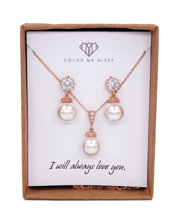 Rose Gold Cubic Zirconia Earring with Swarovski Pearl drop- gifts for her, pearl Necklace, bridal gifts, drop, dangle, pink gold weddings