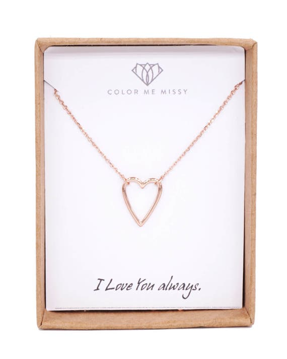 Rose Gold Heart on Rose Gold FILLED Chain necklace - simple love heart lover necklace best friends, bride bridesmaid sisters, mum, my love