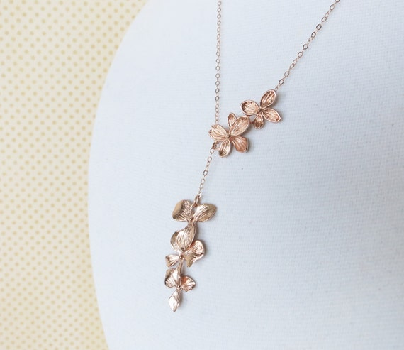 Rose Gold Triple Orchid Flower Lariat, Y Necklace - flower necklace, rose gold garden Wedding bridal bridesmaid necklace, best friend