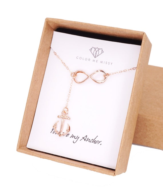Rose Gold Anchor and Infinity Lariat, Y Necklace, Forever Anchored, sister, best friends, mom, Navy Jewelry, Proud Navy Wife Necklace