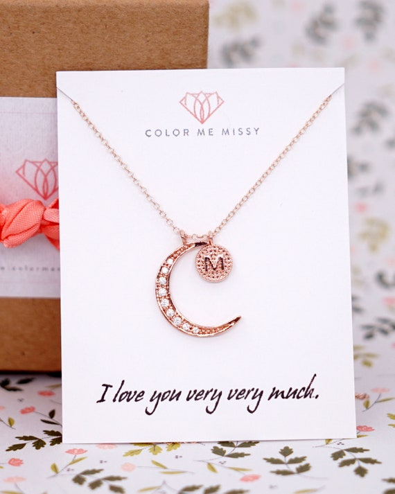 Love you to the Moon and Back necklace - Cubic Zirconia star and crescent moon, Personalized simple rose gold filled chain friends N255