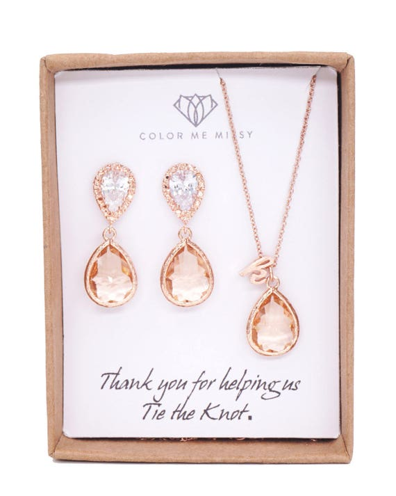 Bridesmaid Earrings Bridesmaid Gift Jewelry Set Blush Necklace Bridesmaids Jewelry Set for Her Bridesmaids Jewelry Gift Colormemissy