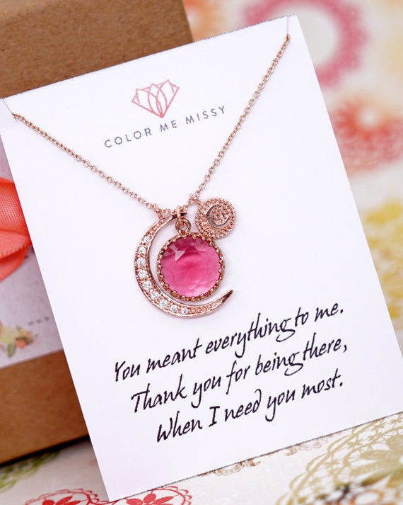 Personalised Love you to the Moon and Back necklace - Ruby Red Glass Drop and crescent moon, simple rose gold FILLED friends N268