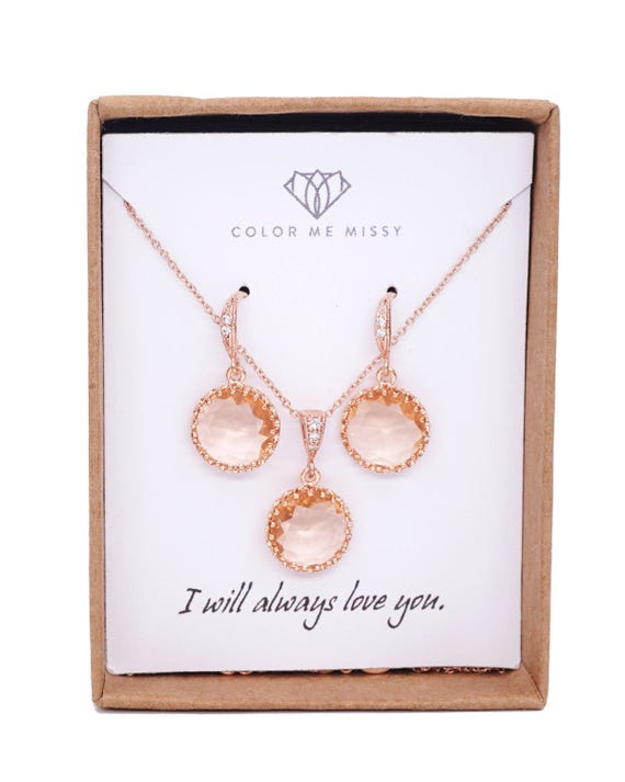 Rose Gold Champagne Glass drop Rose Gold FILLED Necklace Earrings - gifts for her, round, Wedding Bridesmaid bridal shower gifts  weddings