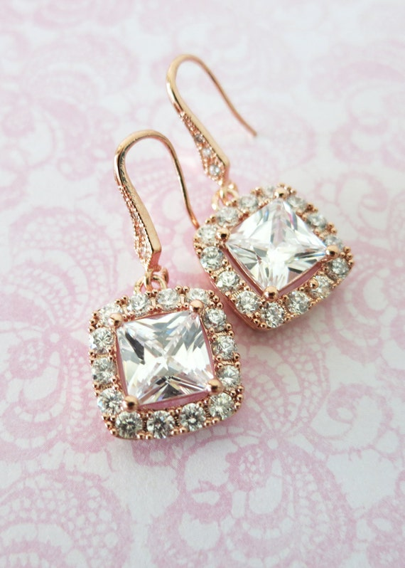 Rose Gold Luxe Cubic Zirconia Square Cushion Earrings - earrings, bridal brides gifts, dangle, pink rose gold weddings, bridesmaid earrings