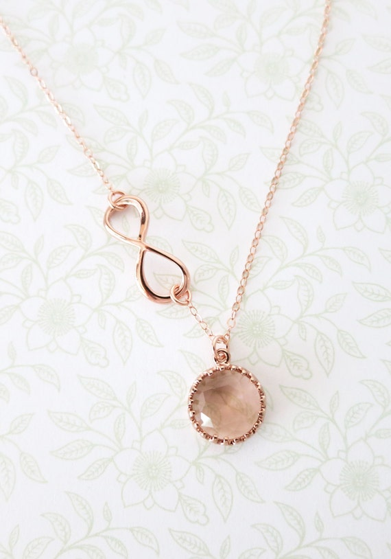 Rose Gold Champagne Round Glass drop Infinity Lariat, Y Necklace, sister, best friends, mom, bridal bridesmaid personalised weddings