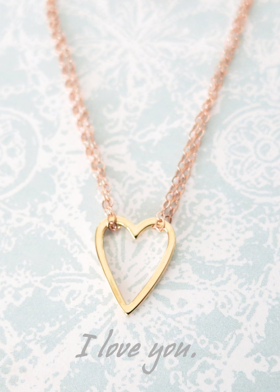 Golden Heart on Rose Gold Chain Necklace - simple rose gold filled necklace, gold heart, best friends, sisters, mum, my love, bridesmaid