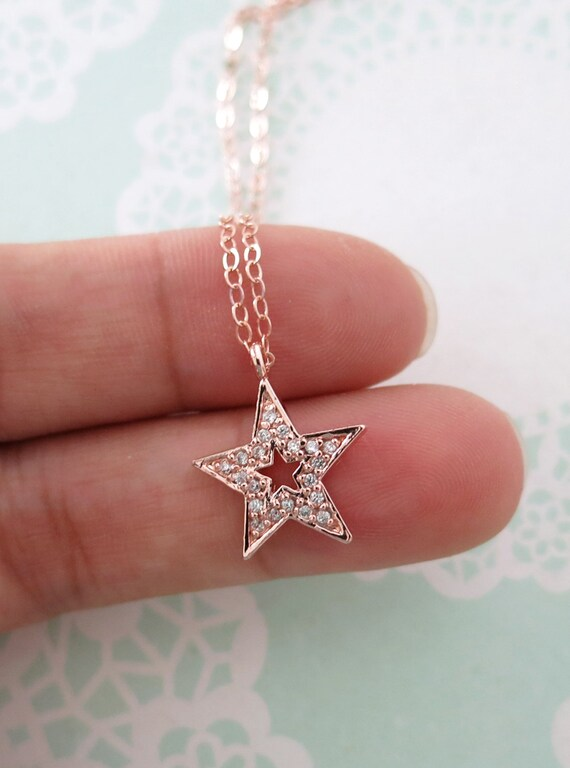 Lucky Star necklace - simple rose gold filled necklace with a lucky Star, crystal, chic, simple, best friends, sisters- N0004RG