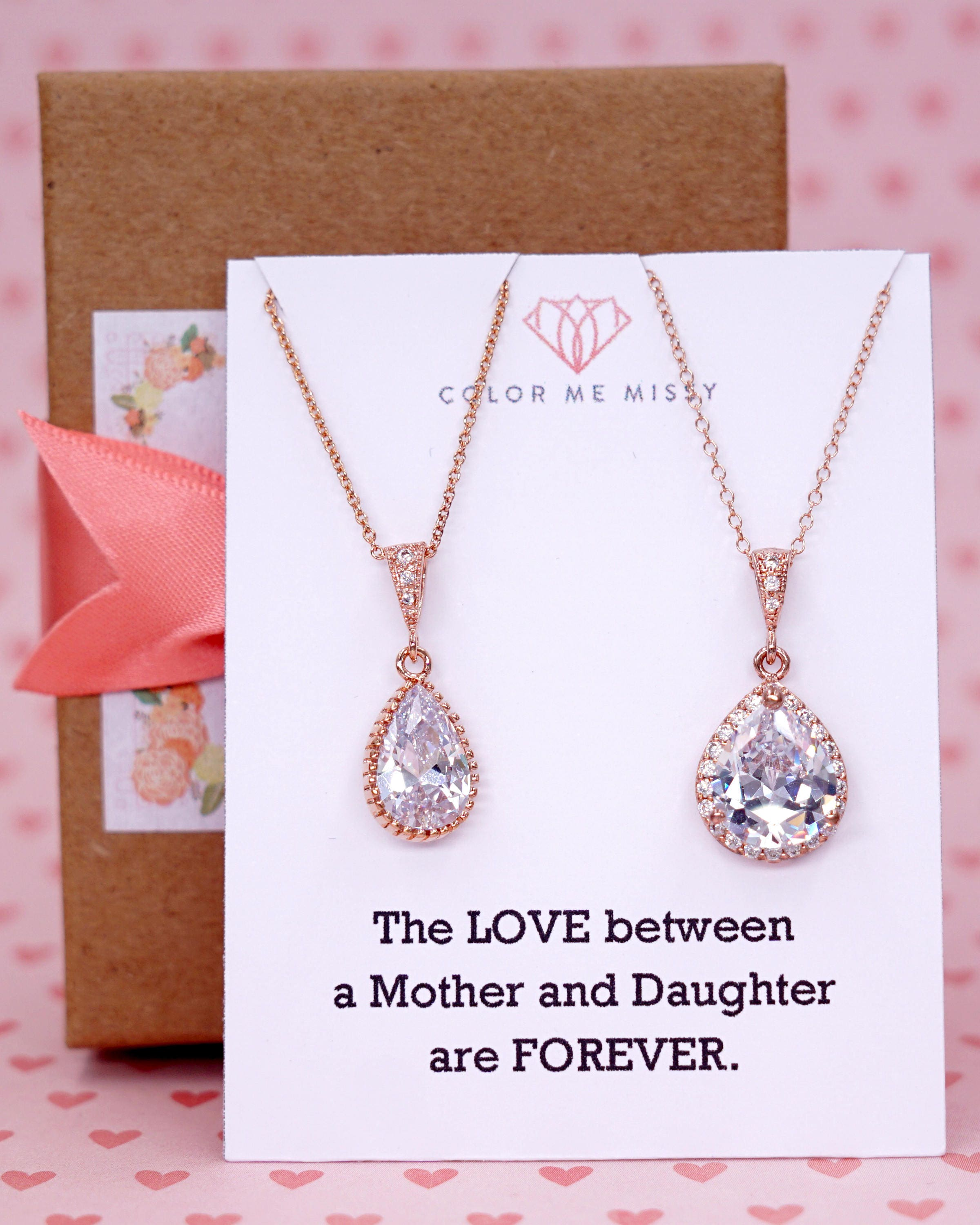 rose gold luxe cubic zirconia teardrop necklace weddings brides bridesmaid bridal shower gifts mother of groom bride n42 n62