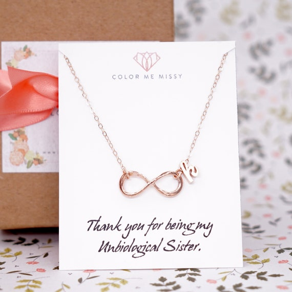 Personalised Infinity Necklace - 14K Rose Gold FILLED Chain, simple infinity charm, forever love, best friend, sister, bridesmaid E247