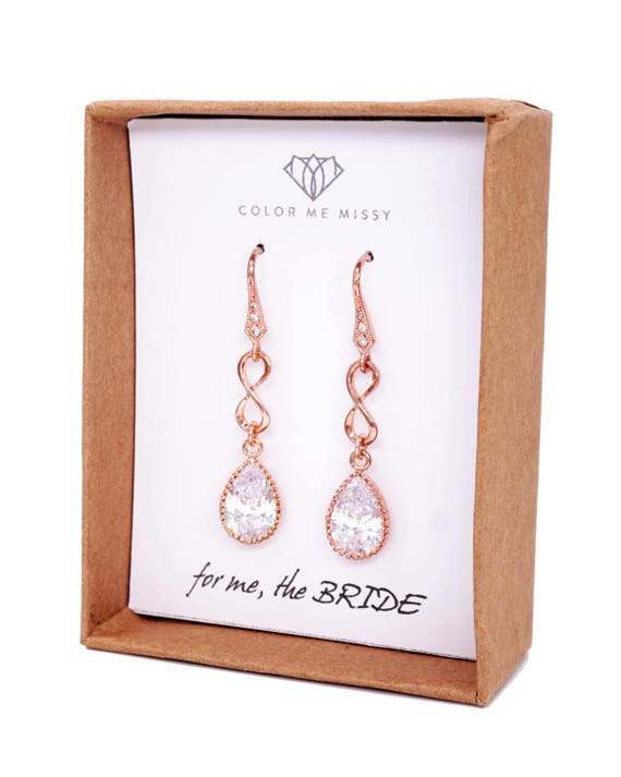 Rose Gold Cubic Zirconia Teardrop Infinity Earrings - gifts for her, earrings, bridal gifts, drop, pink gold weddings, bridesmaid earrings