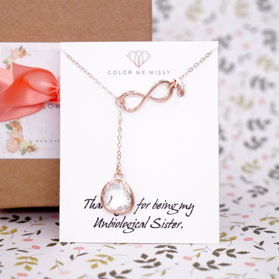 Personalised Rose Gold Glass Drop and Infinity Lariat, Y Necklace, Infinity clear glass lariat necklace, wedding bridesmaid Jewelry, N248
