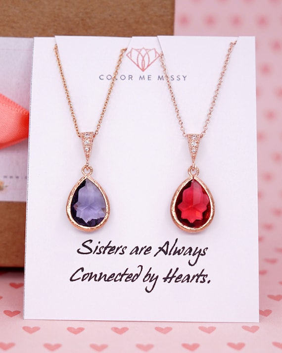 Rose Gold Tanzanite Ruby Teardrop Rose Gold FILLED Necklace - Sister Wedding Bridesmaid bridal shower gifts N144