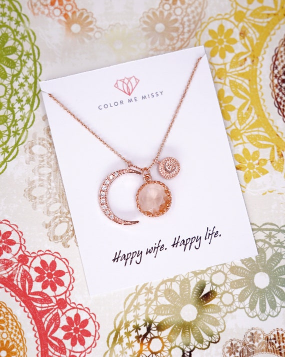 Personalised Love you to the Moon and Back necklace - Champagne Drop and crescent moon, simple rose gold FILLED friends N268