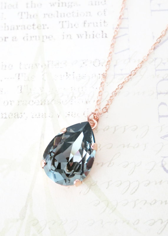 Rose Gold FILLED Swarovski Black Diamond Crystal Teardrop Necklace - rose gold weddings brides bridesmaid bridal shower gifts necklace