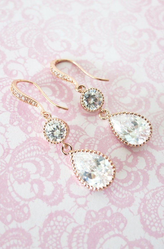 Rose gold,Bridesmaids Earrings,Personalized Bridesmaids Gift, Crystal Earrings,Bridesmaids Gifts,Spring Wedding ,be my bridesmaid, Ada